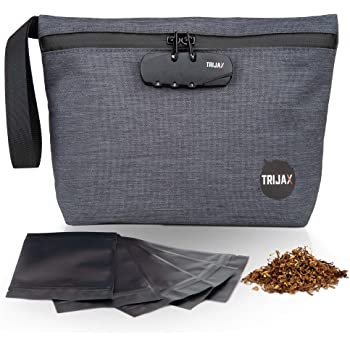 Trijax Carbon Lined Smell Proof Bag with Lock - Odor Proof Stash Pouch