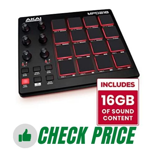 AKAI Professional MPD218 Ultra Portable USB Bus Powered 16 Pad USB MIDI Pad Controller